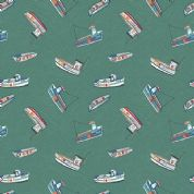 Lewis & Irene Harbour Side - 4940 - Multicoloured Fishing Boats on Sea Green  - A178.2 - Cotton Fabric